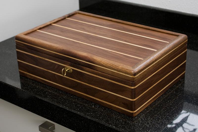 2 - Tea Box from Black Walnut with Ash inlay
