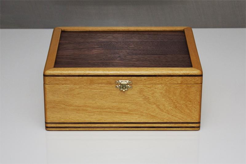 1 - Tea Box from Yellowheart with Black Walnut inlay