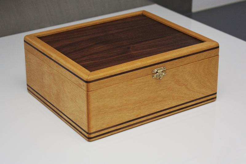 2 - Tea Box from Yellowheart with Black Walnut inlay